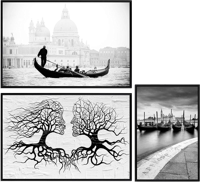 murando Poster Conjunto de 3 Carteles Colección de Posters Cuadro Impresos Póster con Motivos Artísticos Galería de Pared Serie de Carteles Modernos Decoración Negro Blanco Abstracto Arbol Moderno
