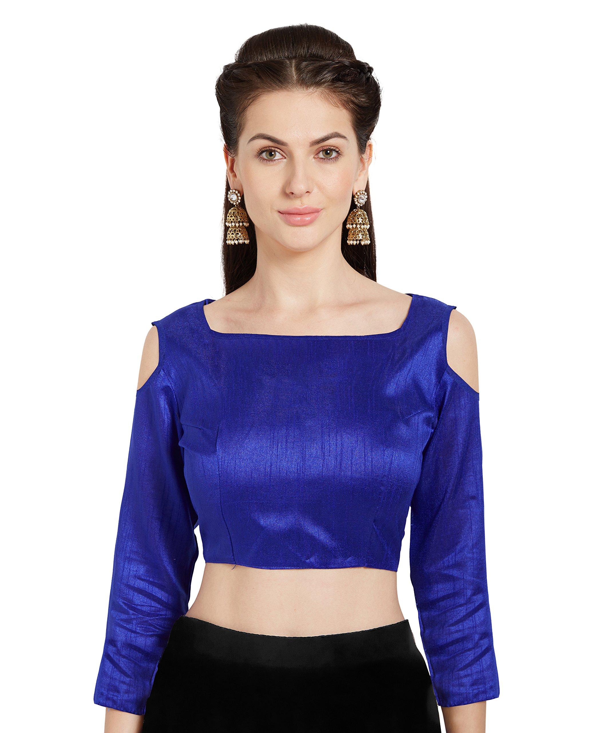 Women's Blue Art Silk and Readymade Saree Blouse Choli Cold Shoulder Top