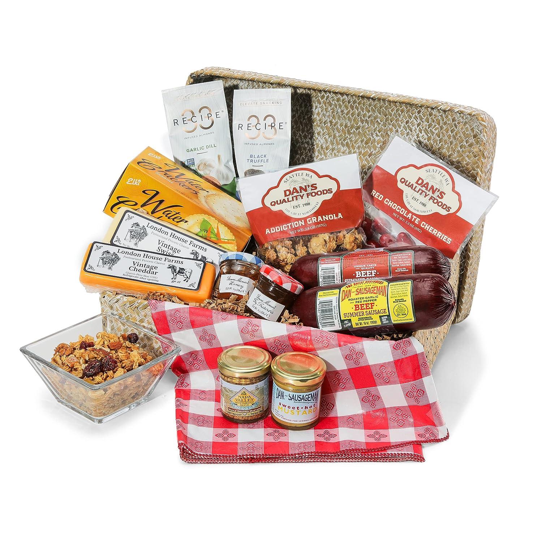 Dan the Sausageman's Summer Picnic Basket Featuring Bonne Maman Spreads, Summer Sausage, and Chocolate Cherries