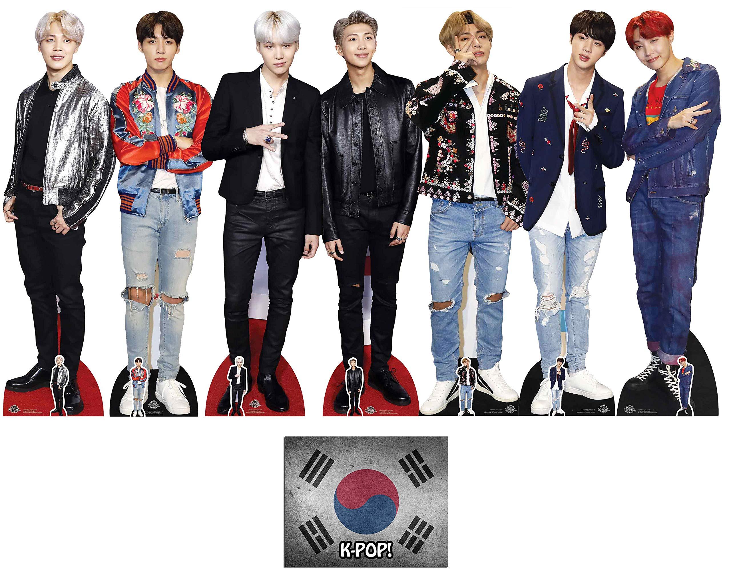 Bangtan Boys with V, Suga, Jin, Jungkook, RM, Jimin and J-Hope Set of 7 Lifesize and Mini Cardboard Cutout Fan Pack, Includes 8x10 Star Photo