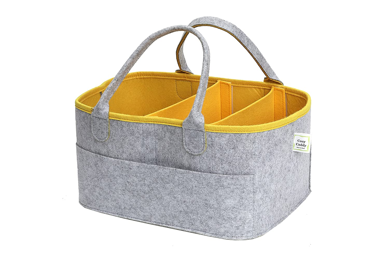 CozyCaddy Grey Nursery Diaper Organizer Caddy| Store Clothes, Teething Toys and More | Outdoors | Baby Shower Gift | 14 X 10 X 7 Larger Sturdy Bottom | Eco Friendly Durable Felt Unlokt