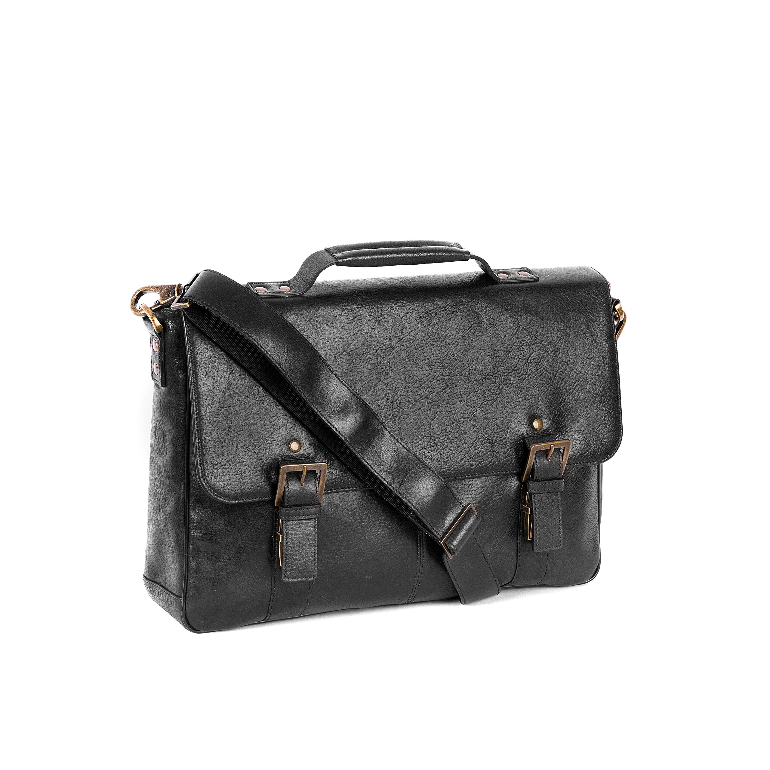 Boconi Becker Flap Dispatch Business Case (Black w/ Khaki and Gingham)