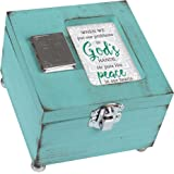 In Gods Hands Peace In Our Hearts Distressed Teal Wood 4.5 x 4.5 Inch Locket Jewelry Keepsake Box