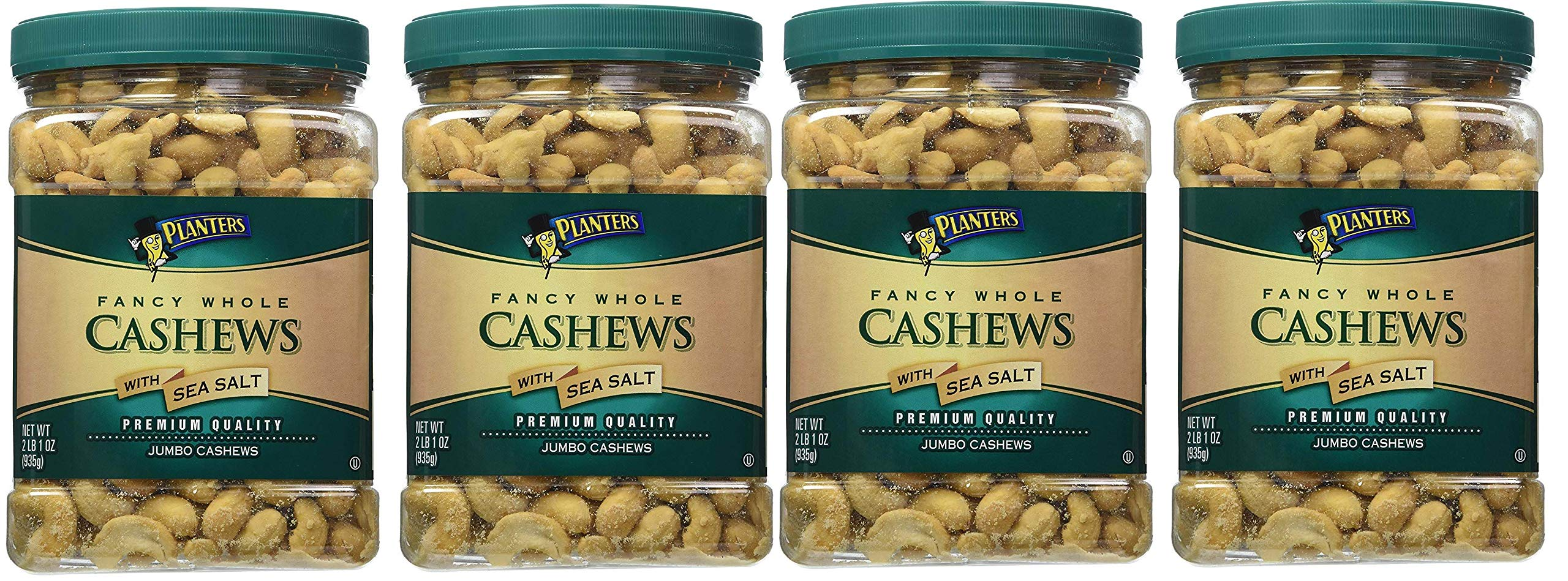 Planters Fancy Whole Cashews, Salted, 33 Ounce, 4 Tubs