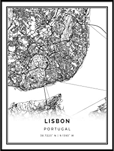 Squareious Lisbon map Poster Print | Modern Black and White Wall Art | Scandinavian Home Decor | Portugal City Prints Artwork | Fine Art Posters 8.5x11