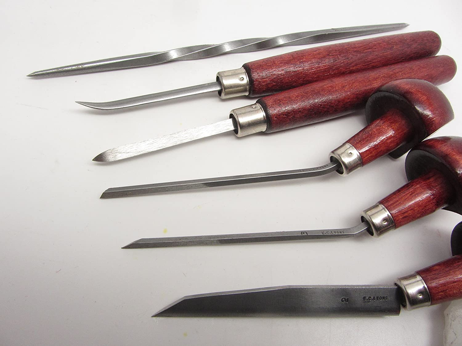 E C Lyons Intaglio Set B (6 Tools) Etching Burnisher Twisted Scriber Scraper Elliptic Tint Burin