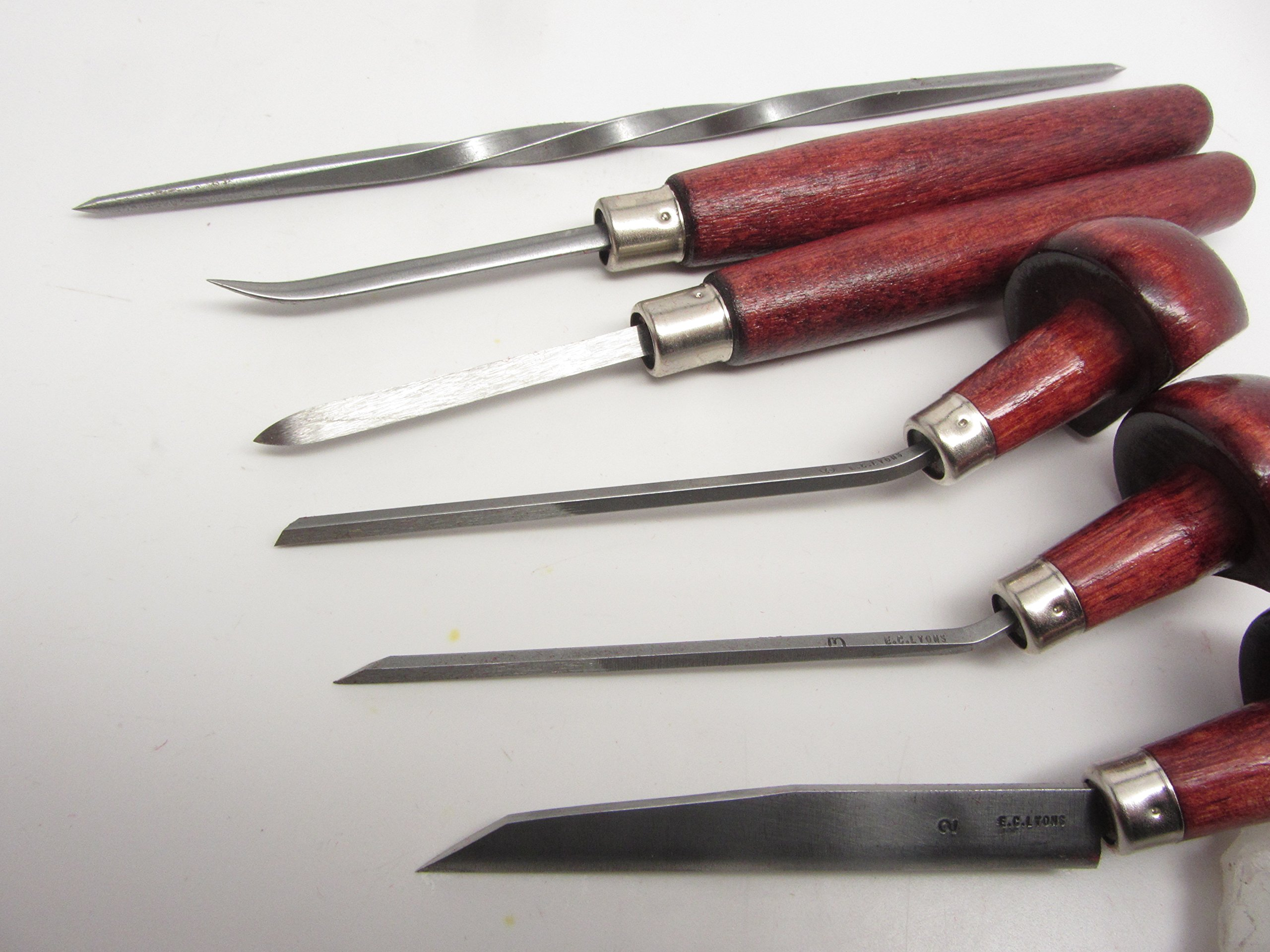 E C Lyons Intaglio Set B (6 Tools) Etching Burnisher Twisted Scriber Scraper Elliptic Tint Burin by UJ Ramelson Co