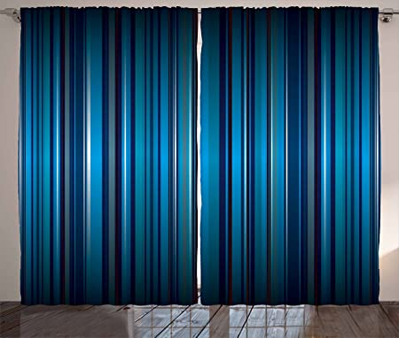 Harbour Stripe Curtains By Ambesonne, Vibrant Nvay Blue Background With  Thin Vertical Lines Modern Design