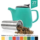 Tealyra - Daze Ceramic Teapot Seafoam Green - 27-ounce (2-3 cups) - Small Ceramic Teapot with Stainless Steel Lid Extra-Fine Infuser for Loose Leaf Tea - 800ml
