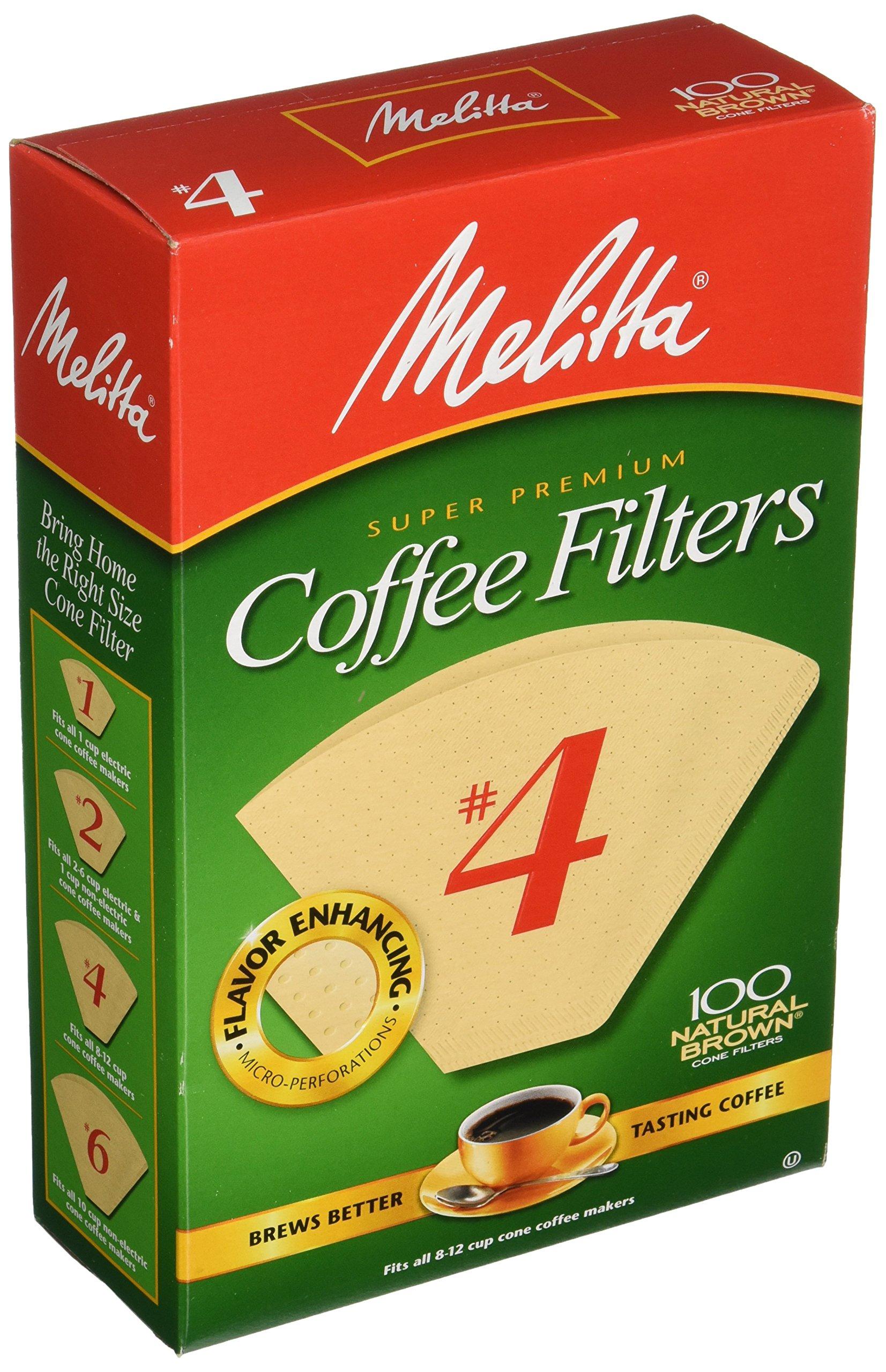 Melitta Super Premium Coffee Filters, Naturan Brown, No. 4, 100-Count Filters (Pack of 3)