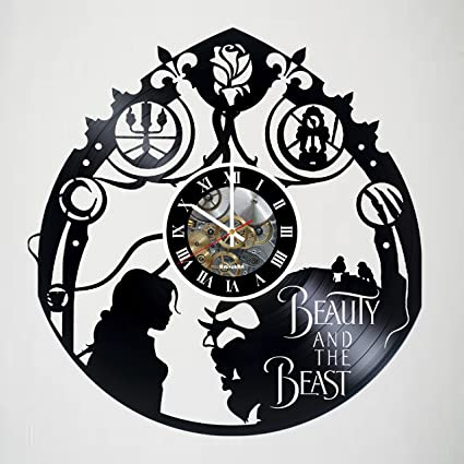 Lovely Beauty And The Beast Incredible Vinyl Record Vintage Wall Clock   Beautiful  Unique Living Kitchen Kids