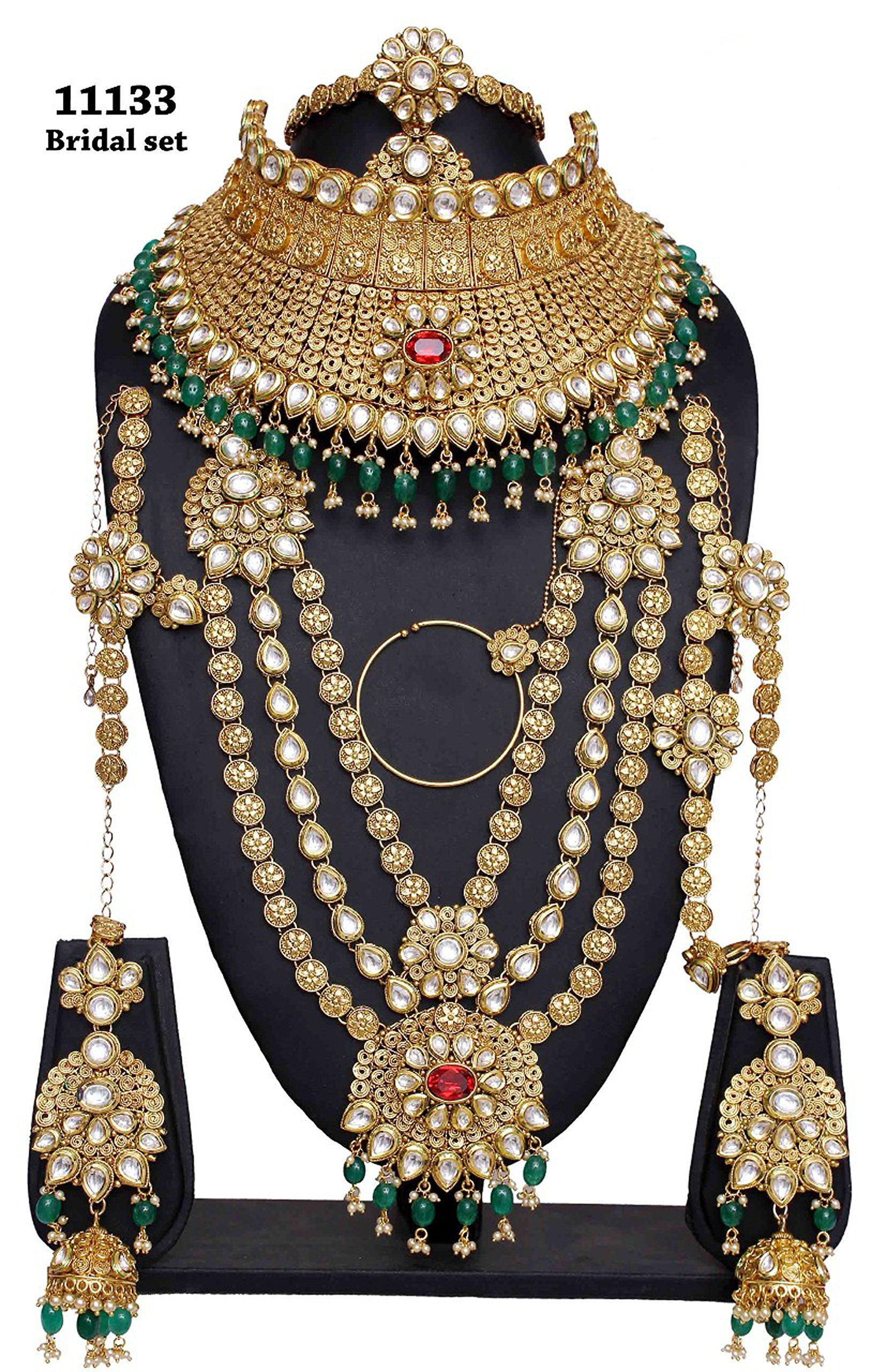 Bollywood Fashion Style Golden Plated Polki Kundan Stone Indian Necklace Earrings Bridal Set Jewelry For Womens