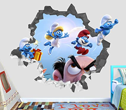 Smurfs The Lost Village Movie Group Wall Decal Sticker Vinyl Decor Door Window Mural - Broken