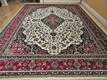 Luxury Silk Rug Ivory Living Room Cream Area Rugs Traditional Medallion 5x8 Persian 5x7