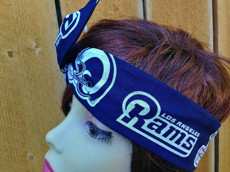 Helmet Logo Wired Dolly Bow Wire Headband Rockabilly Wire Scarf Bandana Los Angeles Rams