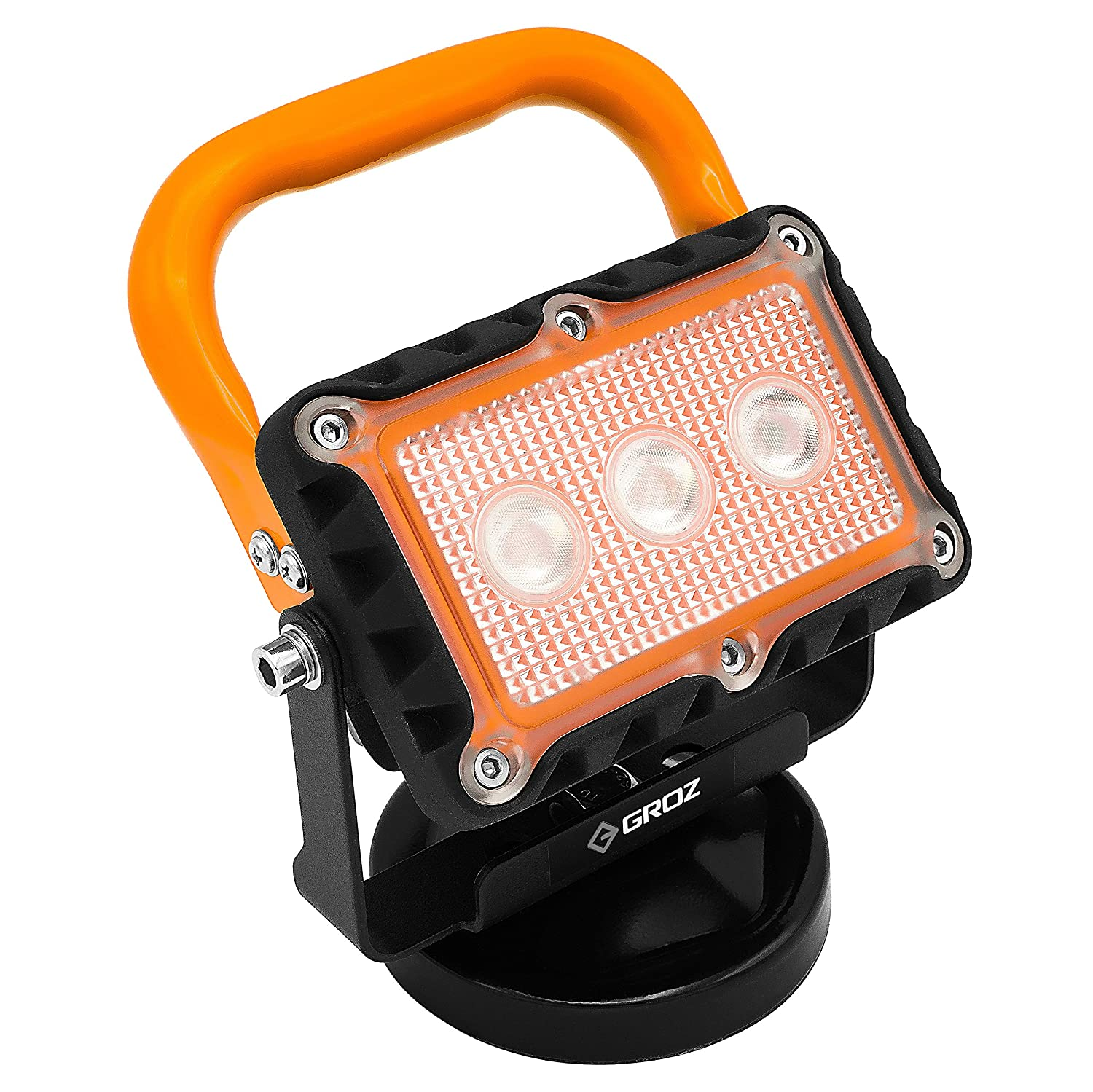 USB Charger IP65 Water /& Dust Proof Rating 55036 GROZ 500 Lumen LED Rechargeable Site Lamp with Magnetic Base 3.7V Li-Ion Battery 270/° Rotation