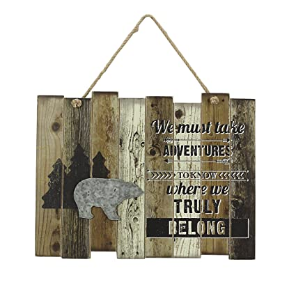Amazon.com: Young\'s Must Take Adventures Wooden Lodge Wall Art Sign ...