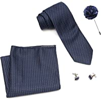 COCO CHANEL Men's Silk Stain Resistant Necktie, Pocket Square, Lapel Pin Cufflinks Set (Blue)