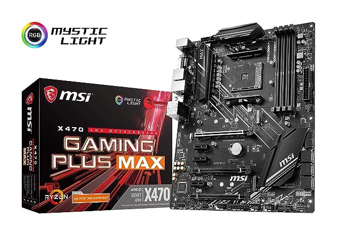 X470 GAMING PLUS MAX - Placa base (4 PCI-E Gen3 , Audio boost, conectores pin 8+4, Mystic Light RGB)