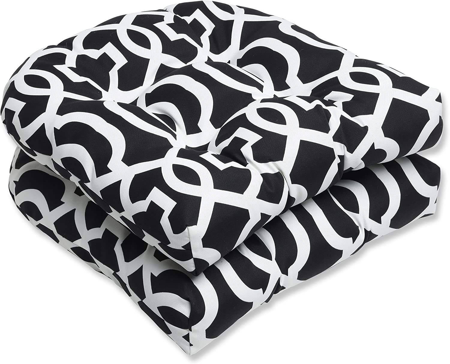Pillow Perfect Outdoor New Geo Wicker Seat Cushion, Black White, Set of 2