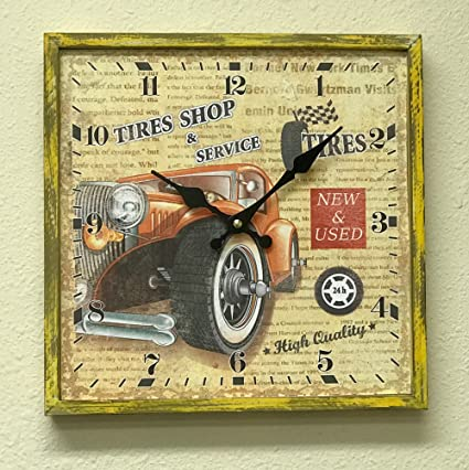 043c64ef9247 Amazon.com  Creative Motion 22203-2 Clock with Car Design with Wood ...