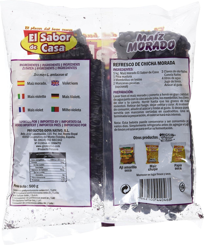 El Sabor de Casa Maíz Morado - 12 Paquetes de 500 gr - Total ...