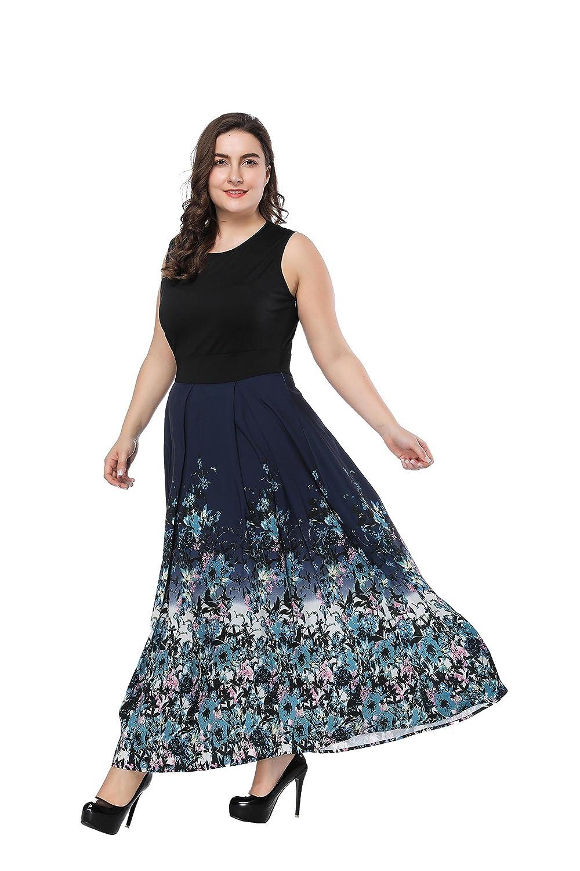 a39ad06d239 Top2  Prior Jms Womens Plus Size Maxi Dresses Sleeveless Round Neck Floral  Print Summer Beach Wedding Long Gwon Dress