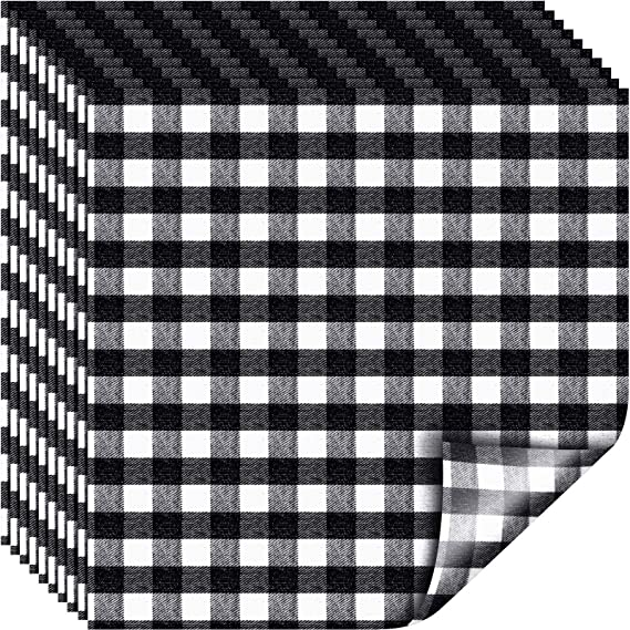 Orange and Black Plaid 10 Pieces 12 x 12 Inch Halloween Buffalo Plaid Vinyl Fabric Check Vinyl Sheets Adhesive Heat Transfer Sheet Iron on Vinyl Clothes Patches for Halloween Christmas
