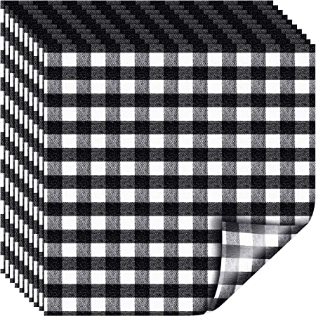 Amazon Com Frienda 10 Pieces 12 X 12 Inch Christmas Buffalo Plaid Vinyl Fabric Check Vinyl Sheets Adhesive Heat Transfer Sheet Iron On Vinyl Clothes Patches For Christmas Black And White Plaid