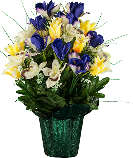 Home Furniture Diy Crem Pot Memorial Quality Artificial Silk Flower Arrangement Grave Dried Artificial Flowers Mantys Com Br