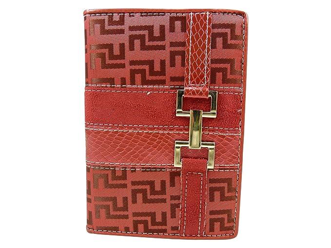Cartera de Mujer 3 Caras 7 Tarjetas bancarias de Tela con Hebilla, Color Plateado, Rojo (Rojo), Talla única: Amazon.es: Zapatos y complementos