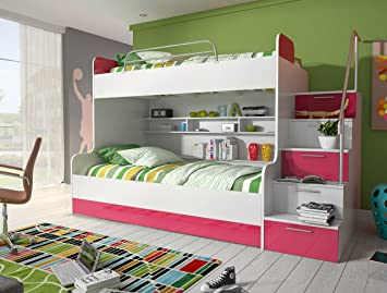 Etagenbett Unten 120 Oben 90 : Etagenbett rosa hochglanz rechts bett jugendbett doppelstockbett