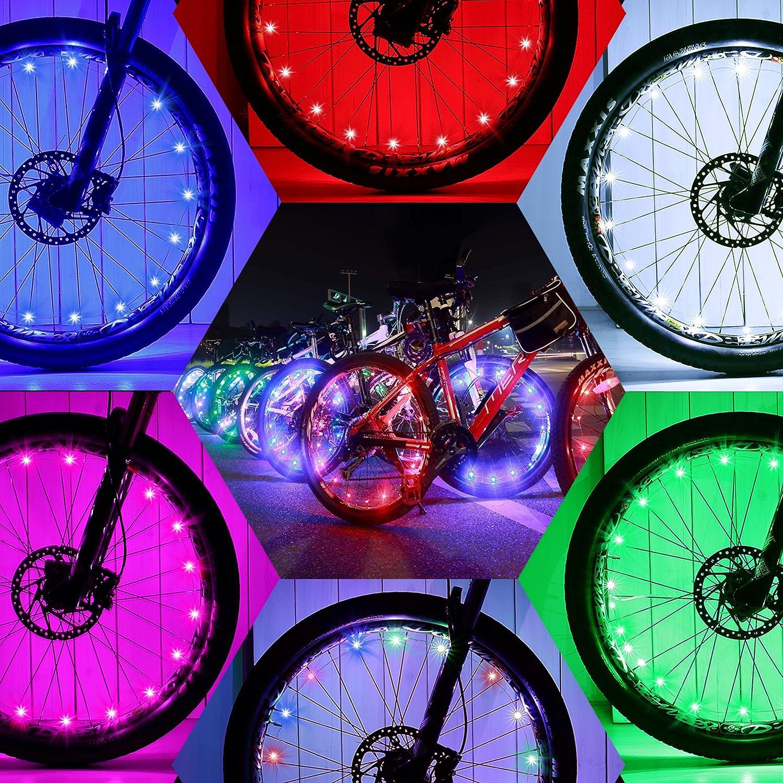 DAWAY Led Bike Wheel Lights – A01 Waterproof Bright Bicycle Light Strip 2 Tire Pack , Safety Spoke Lights, Cool Kids Bike Accessories, Light Up Wheels, Lightweight, Include Battery, 1 Year Warranty