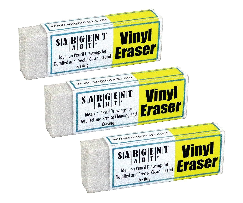Sargent Art 36-0010 Plastic Set Vinyl Erasers 3 Pack