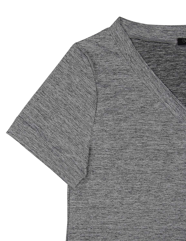 Blooming Jelly Womens Summer T Shirt Dress Mini V Neck Casual Plain Sun Dresses Tunic with Pockets(X-Large, Dark Grey)