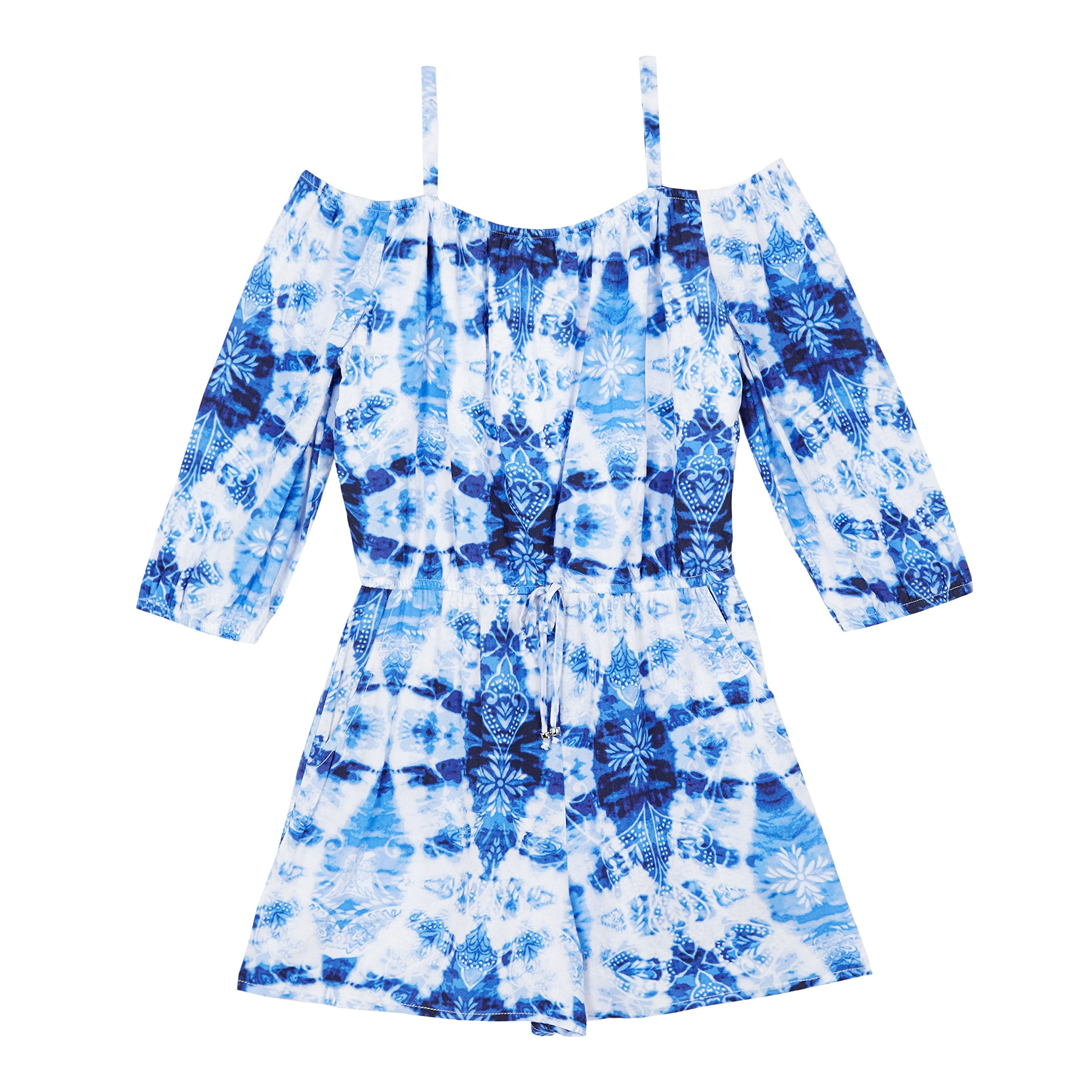 Amy Byer Big Girls' Off The Shoulder Romper, Cobalt Tie Dye Navy Paisley, L