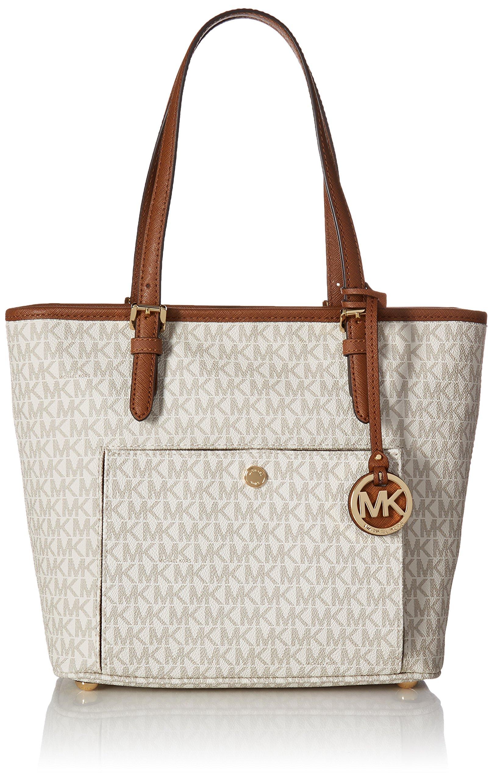 Michael Kors Mk Jet Set Signature Shoulder Bag, Vanilla , Large