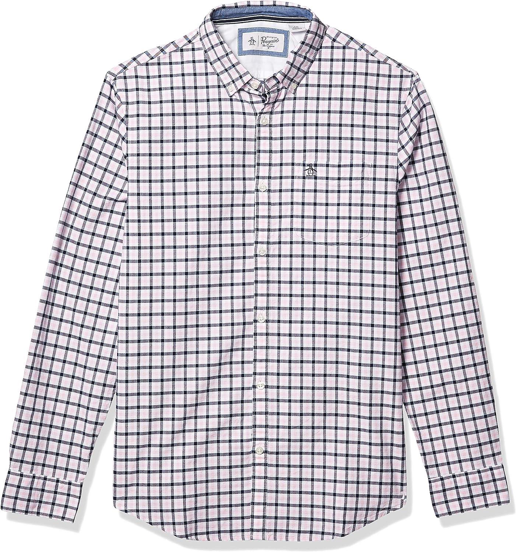 Original Penguin Mens Long Sleeve Plaid Button Down Shirt