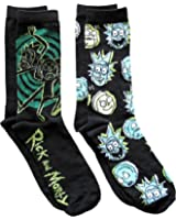 Rick and Morty Men's Crew Socks 2 Pair Pack Shoe Size 6-12