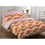 Welhome Snapshot 104 TC Cotton Double Bedsheet with 2 Pillow Covers - Pink