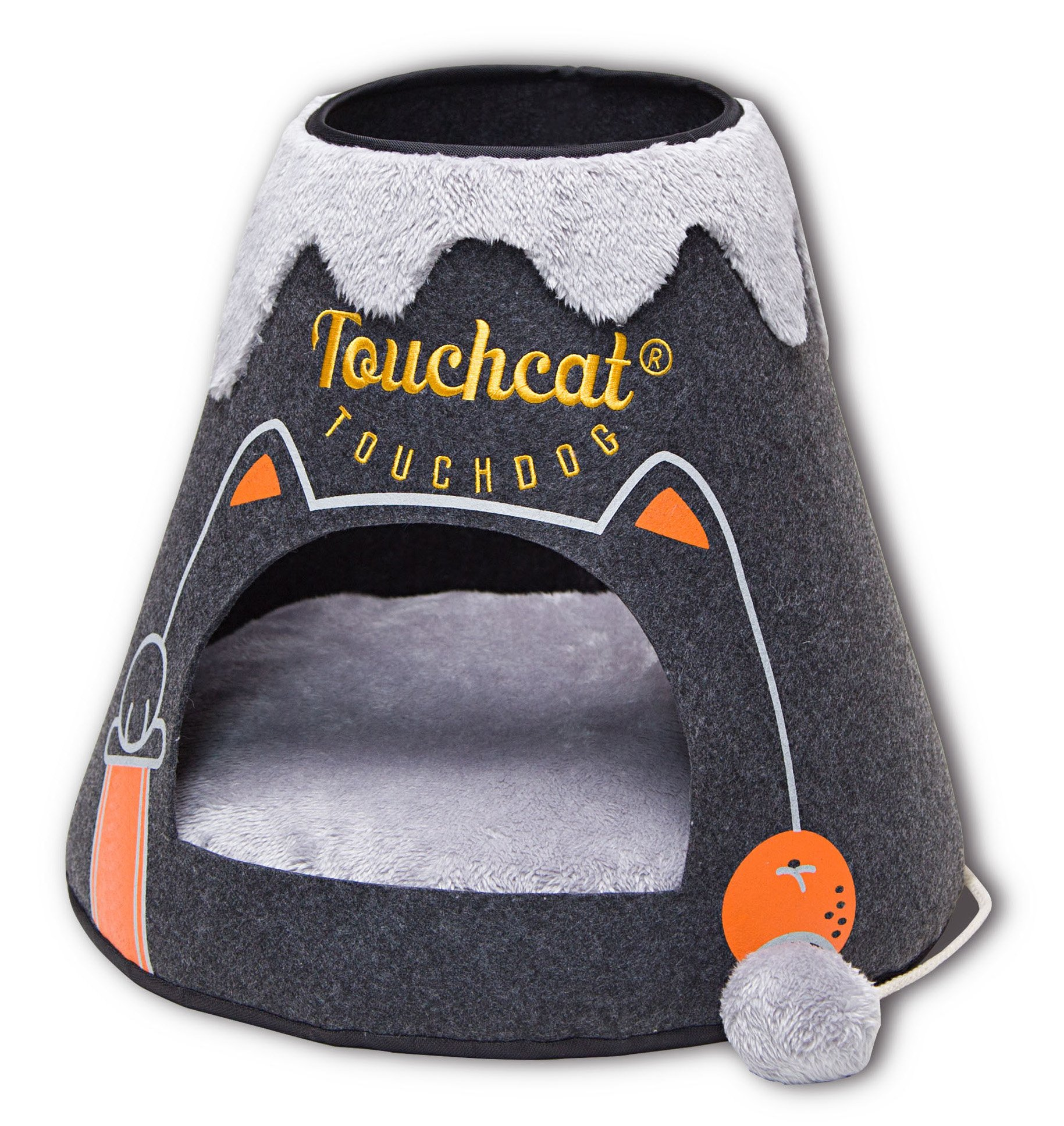 Touchcat Molten Lava' Triangular Frashion Designer Pet Kitty Cat Bed House Lounge Lounger w/Hanging Teaser Toy, Large, Black and Grey