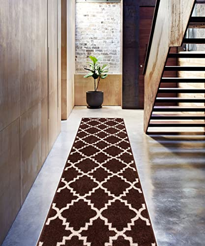 Brown 2×7 2 3 x 7 3 Runner Area Rug Trellis Morrocan Modern Geometric Wavy Lines Area Rug Living Dining Room Bedroom Rug Resistant Carpet Contemporary Soft Plush Quality