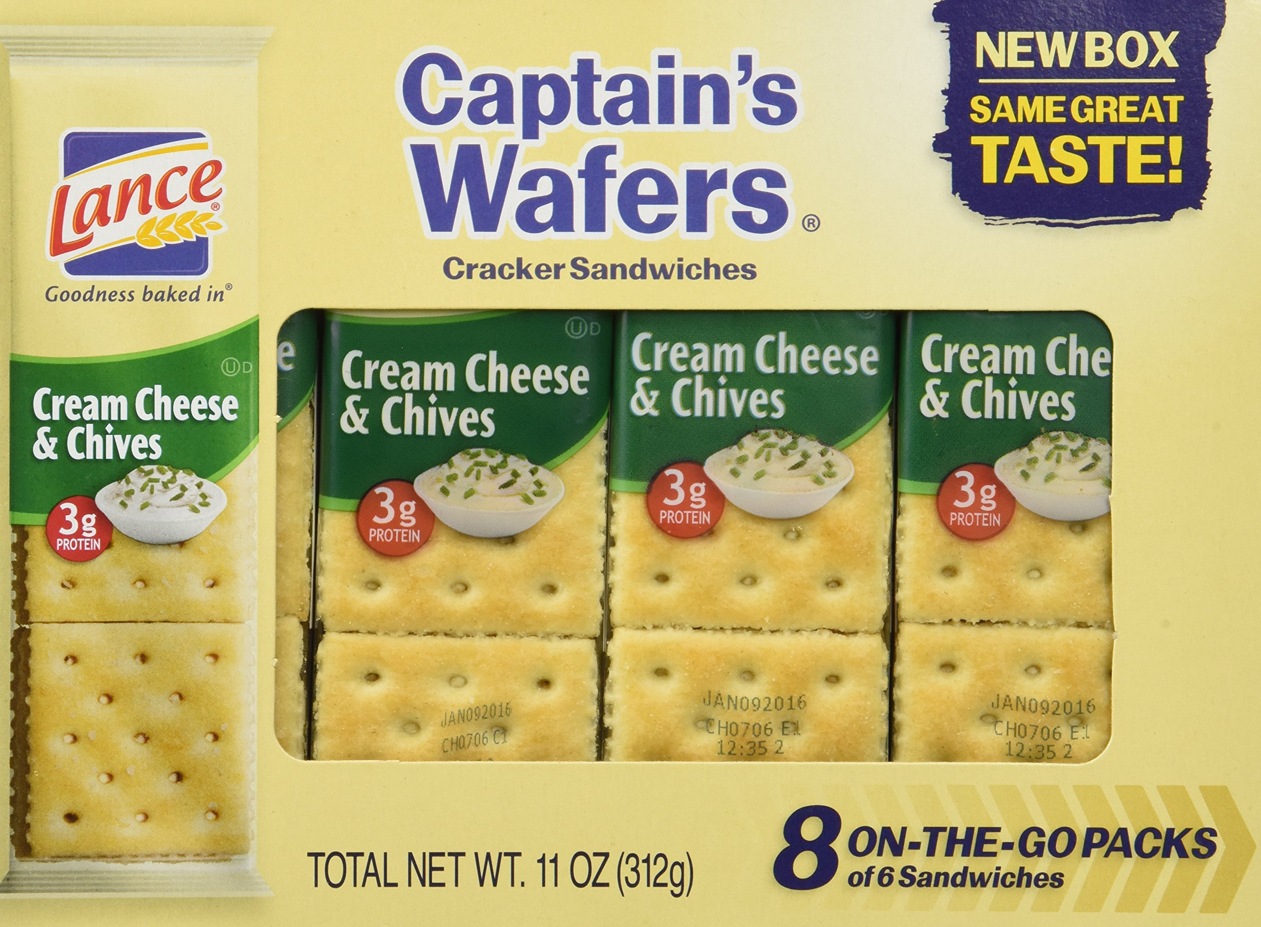 Captain's Wafers Crackers, Cream Cheese and Chives ,11 Ounces (3 To Go Packs) by Captain's Wafers