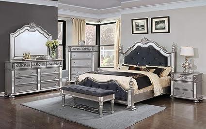 Amazon.com: GTU Furniture 6Pc Panel Configurable Bedroom Set ...