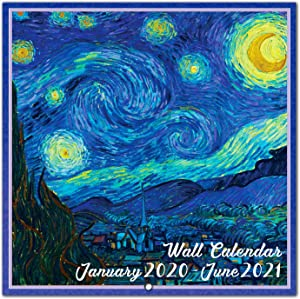 2020-2021 Wall Calendar - 18 Monthly 2020-2021 Calendar 7 x 7 Inch with Thick Paper and Bright Colors, Jan. 2020 - Jun. 2021 - Art Paintings