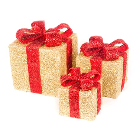 christmas star set of 3 sisal light up gift boxes