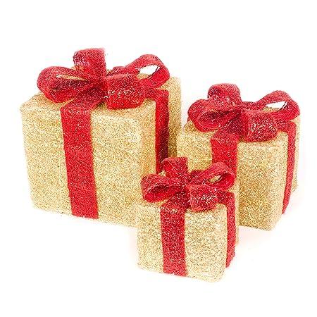 christmas star set of 3 sisal light up gift boxes