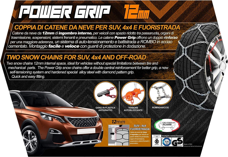 16F255 Catene da Neve Power Grip 16mm Omologate Gruppo 255 pneumatici 255//60R17