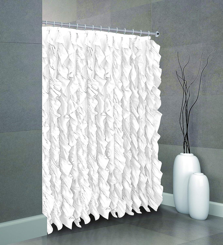 spring Home Waterfall Shabby Chic Ruffled Fabric Shower Curtain (White)