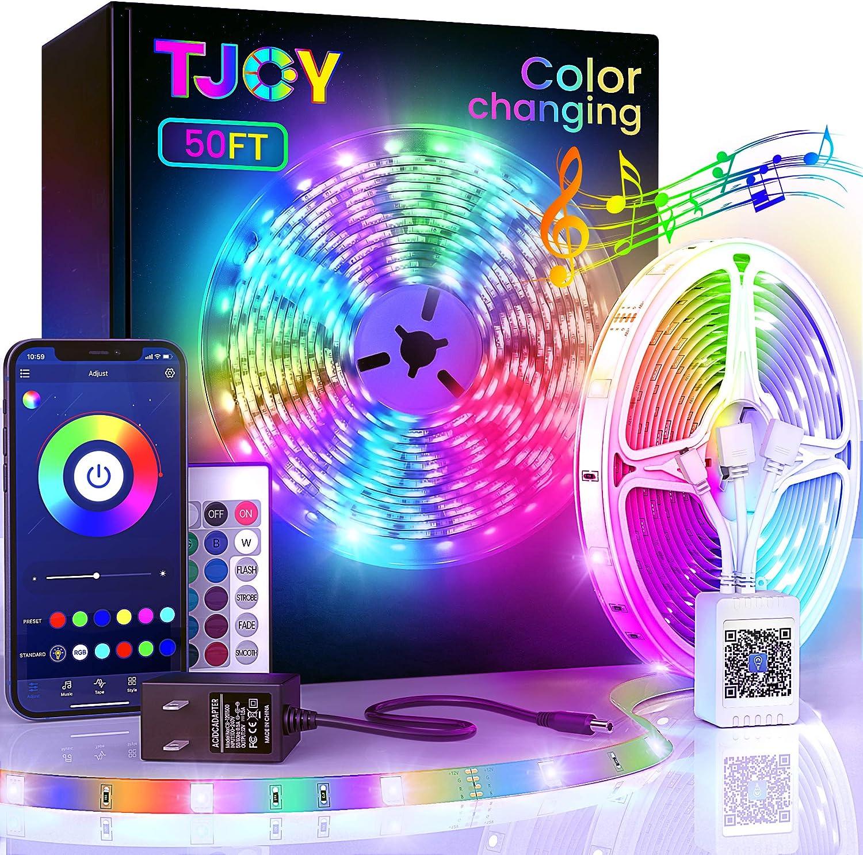 50ft Bluetooth LED Strip Lights, SMD5050 Music Sync LED Lights Strip,RGB Color Changing LED Lights with Remote, Smart Phone APP Control, LED Lights for Bedroom, TV, Room DIY (APP+Remote +Mic/50ftx1)
